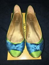 J Crew Two Tone Martine Satin Ballet Flats Blue Green 11
