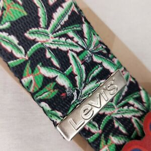 Levi's Men's Military-style Web Belt Black Green Cannibus Weed Leaf Cut to Fit