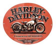 Harley Davidson Motorcycle Timeless Tradition Metal Tin Sign Orange Great Gift