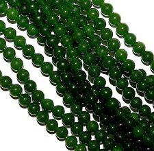 "GR892c Dark Green 8mm Malay Jade Round  Quartz Gemstone Beads 15"""