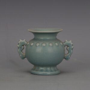 Song Dynasty Ru Kiln Celadon Glazed Double Ear Incense Burner reproduction