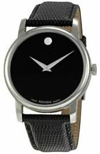 Movado Museum Black Dial Steel Black Leather Mens  Watch 2100002 USA SELLER