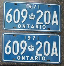 Ontario 1971 License Plate PAIR # 609 20A