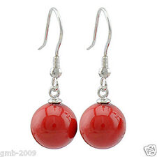 10mm Genuine Coral Red South Sea Shell Pearl 925 Sterling Silver Dangle Earrings