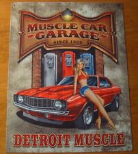 MUSCLE CAR GARAGE SINCE 1969 DETROIT MUSCLE Pin Up Girl Gas Pump Station Sign