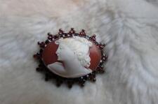 Antiguo 10ct Amarillo Oro Rose Corte Antiguo Bohemio Granate Tallado Shell Broche Camafeo