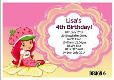 1 x STRAWBERRY SHORTCAKE GIRLS BIRTHDAY PERSONALISED INVITATIONS CARDS + MAGNETS