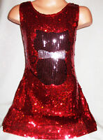 GIRLS 60s RED BLACK CAT KITTEN LOGO SPARKLY SEQUIN DISCO DANCE PARTY DRESS