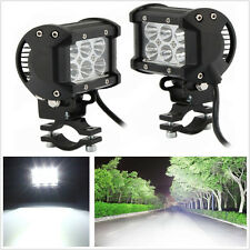 2 Pcs 18W Cree LED White Motorcycle Spotlight Headlight & Metal Mounting Bracket