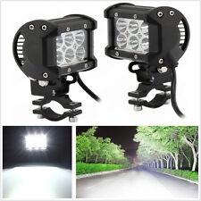 2 Pcs 18W Cree LED White Motorcycle Spotlight Headlight & Metal Mounting Bracket