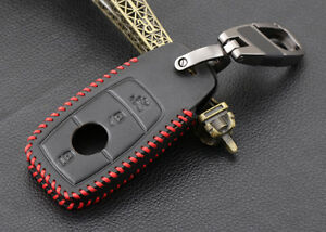 Genuine Leather Key Fob Case Cover for 2016 2017 2018 Mercedes-Benz E Class W213