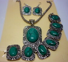 natural turquoise stone tribal lady's silver earrings necklace bracelets sets