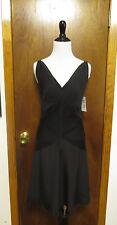 Balenciaga Silk Black Pleated V Neck Waist Tie Little Black Dress Sz 36/XS/S