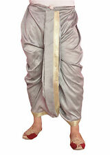 Larwa Men's Festive Wedding Readymade Silk Dhoti (D-Silver2(z))