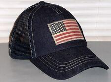 POLO RALPH LAUREN Trucker Hat, Sport Ball Cap, USA Flag, NAVY, INDIGO DENIM, nwt