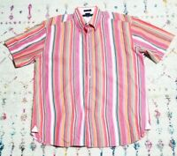 Tommy Hilfiger Mens Striped Button Down Short Sleeve Casual Rainbow Shirt XL