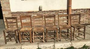 6 Antiche sedie in legno massello con seduta in paglia rustiche arte povera