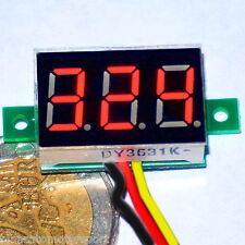 "MINI VOLTMETRO DIGITALE da 0 a 600V DC LED ROSSO 0.36"" alimentatore tester c.c."