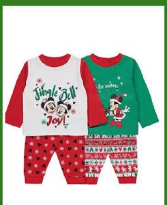 Disney Mickey And Minnie Christmas Pyjamas 2 Pack  12/18 Months to 2/3 Years