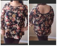 Nolita Womens  Plus Sz Floral Blouse Bow On Back Sz 2X Polyester