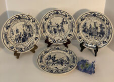 Antique Flow Blue and White, 4 Plates, The French Revolution, Luneville