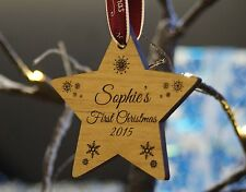 Solid Wood Personalised Christmas Tree Decoration Bauble Baby's First Christmas