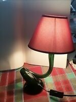 lampada bottiglia da tavolo scrivania  artigianale in vetro vintage verde rossa