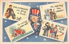 GOING TO CAMP & RETURNING HOME DOG UNCLE SAM MILITARY POSTCARD (1940s)