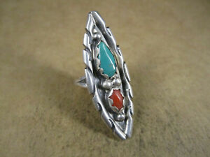 Long Sterling Silver & Turquoise/Coral Ring, Unsigned, Size 5.5, 7.3g