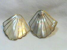 Mother of Pearl Gold Tone Lined Fan Pierced Earrings