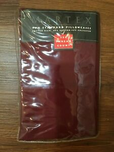 MARTEX STD. PILLOWCASES BURGUNDY 300 THREAD COUNT NEW IN PACK