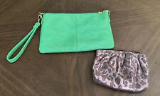 Green Wristlet And Leopard Zip Bag