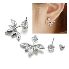 Marquise Clear Crystal Flower Curved Silver Plated  Arc Ear Jacket Cuff Earrings