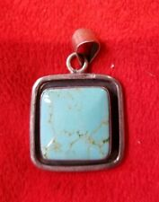 Turquoise Necklace Fob .925 Sterling Silver