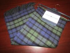 tommy hilfiger fringe tartan decorative blanket throw 50x60 nwt blue green