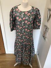 Gorgeous Laura Ashley Green Linen Floral Print Vintage Midi Dress UK 12