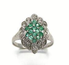 Smaragd Ring  Smaragde & Brillanten  925 Sterling Silber  Ø 17.8 mm
