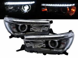 Hilux Revo AN120/AN130 15-present LED Projector Headlight Chrome for TOYOTA RHD