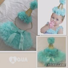 Baby Girls 1st First Birthday Cake Smash Outfit Set Frilly Tutu Knicker Hat Aqua