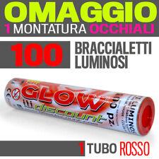 100 BRACCIALETTI LUMINOSI ROSSO fluo DJ starlights BRACCIALI glowstick 30336