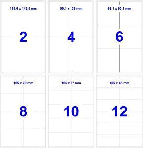 Etiketten Klebeetiketten Internetmarke weiß A4 - selbstklebend Gr./Anz. wählbar