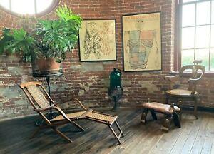 Gorgeous Authentic late 1800s Adam Colignon Folding Cruise Line Cane Deck Chair!