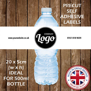 PERSONALISED BUSINESS LOGO COMPANY BRAND PROMOTIONAL WATER BOTTLE LABELS PARTY