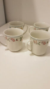 TCM Tchibo edele Kaffeetasse Florale Muster blauen Streifen 4 Stück