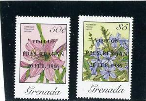 Grenada 1986 Flowers Scott# 1357-8 Mint LH