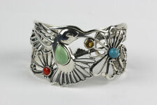 Carolyn Pollack Relios Sterling Silver and Multi-Stone Hummingbird Cuff Bracelet
