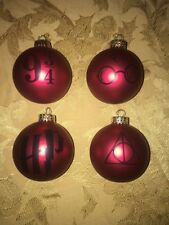 4 HARRY POTTER INSPIRED GLASS BALL CHRISTMAS ORNAMENTS HANDMADE GIFT RED