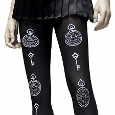 HOT TOPIC LOVESICK WHITE PRINT CLOCK  TIME KEY  BLACK OPAQUE TIGHTS  HARD 2 FIND