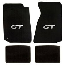 1994-2004 Mustang Coupe & Convertible 4pc Black Floor Mats Set - Silver GT Logo