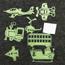 7PC Transportation Plane Train Ship Bus Glow in the Dark Wall Sticker Home Decor